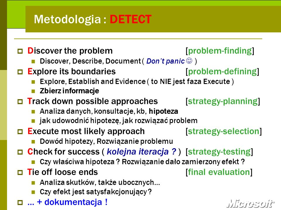 Metodologia : DETECT Discover the problem [problem-finding]